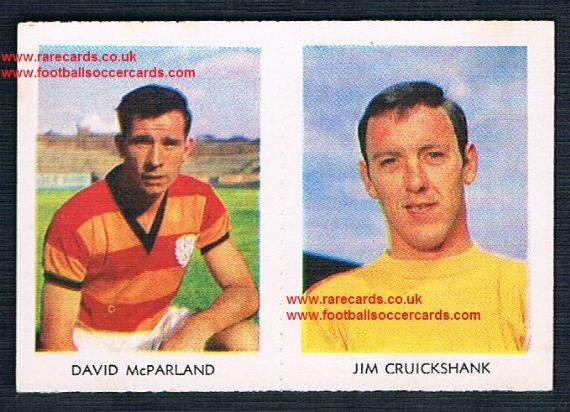 1966 A&BC Scottish coloured pair 33 Cruickshank Hearts 6 McParland  Partick Thistle